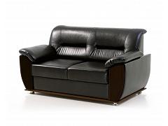 Двухместный черный диван для офиса ЛЮДВИГ