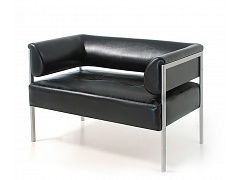 Двухместный диван для офиса НОРМА ЛЮКС черный