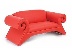 Двухместный красный диван для офиса СЭЛА