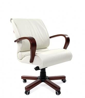 Кресло CHAIRMAN 444 WD кожа белая, дерево